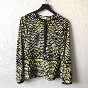 Parker 100% Silk Yellow & Black Printed Blouse